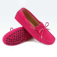2018 Shoes Women 100% Genuine Leather Women Flat Shoes Casual Loafers Slip On Women's Flats Shoes Moccasins Lady Driving Shoes