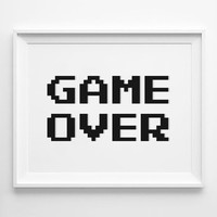 Game Over 8Bit Poster, Video Game Poster, Gaming Poster, Geek Art, Video Game Art Print, Gaming Art, PRINTABLE ART