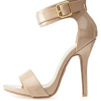 Natural Belted Ankle Strap Heels by Charlotte Russe