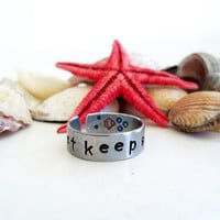 Just Keep Swimming - Hand Stamped Aluminum Ring - Inspired by Finding Nemo - Customizable
