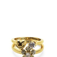 Gold Pave Flower Ring Set by Juicy Couture,