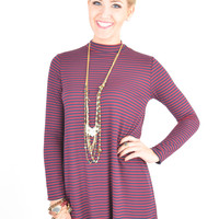 Maroon and Navy Striped Long Sleeve Dress with Cut-Out Detail