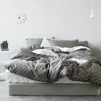 TUTUBIRD-White and black striped plaid bedding sets simple style rose bed linen duvet cover bed sheet pillow case set king