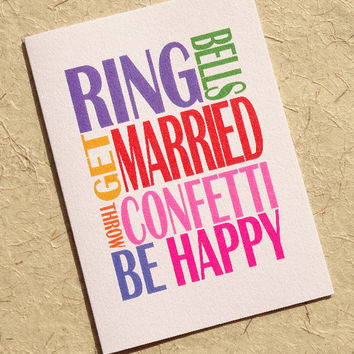 Wedding card, ring bells get married, stylish & contemporary congratulations card for the happy couple on their big day