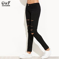 Dotfashion Women's Ripped Skinny Jeans