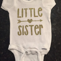 Little sister Onesuit with gold lettering , gold arrow, baby girl, baby sister, sibling shirt