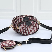Dior embroidered letters mens and womens Three piece messenger bag waist bag shoulder bag Red