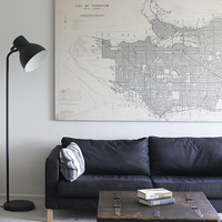 """58"""" x 38"""" - Vintage Maps, Large Print of Map of Vancouver"""