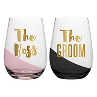 """SLANT COLLECTIONS """"THE BOSS, THE GROOM"""" STEMLESS WINE GLASS SET OF 2"""
