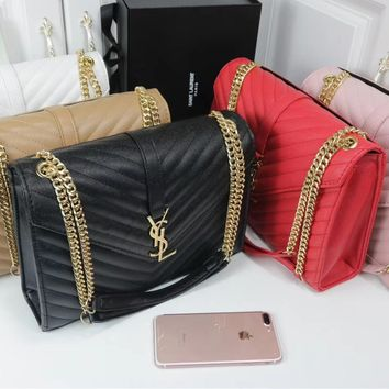"""""""YSL"""" Fashion All-match Personality Metal Chain Single Shoulder Messenger Bag Women Solid Color Flip Small Square Bag"""