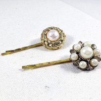 Pearl bobby pins,  pearl hair pin, gold flower hair pin,  flower bobby pins pearl bridal hair pin wedding hair pin gold pearl hair clip