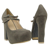 Womens Evening Sexy Suede Chunky Glitter Platform High Heels Gray US Sizes 5-10
