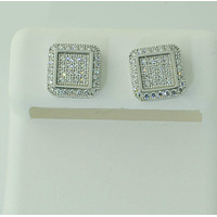 Screw Back Stud Earrings Sterling Silver Clear Micro Pave CZ ASC Brand