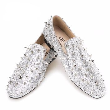 Handcrafted Luxury Gold or Silver Spikes and Diamonds Glitter Leather Loafers