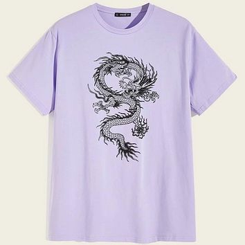 Fashion Casual Men Dragon Print Tee