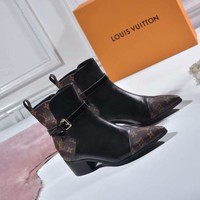 "LV Louis Vuitton Womens popular amazing Black Brown ""Monogram Empriente"" Knit leather Zipper Ankle Short Boots  Boots ladies High top Heels Shoes Best Quality"
