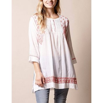 Fair Trade Aisha Tunic - Coral - Large Only - As-Is-Clearance