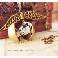 Harry Potter Jewelry Golden Snitch Necklace Harry Potter Necklace Secret Message Necklace Personalized Locket Necklace Ball Locket Necklace