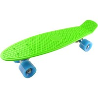 """Welcomeget Plastic Cruiser Skateboard Complete Penny Size 22"""" Stereo-Sonic Tail Green/Light Blue"""