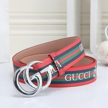 GG mens and womens double G letter buckle smooth buckle belt-13