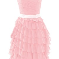 Diyouth Short Tiered Cascading Ruffles Bridesmaid Dresses Sweetheart Party Gowns