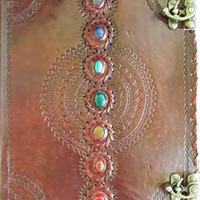 Chakra Stone Leather Covered Journal with Latch