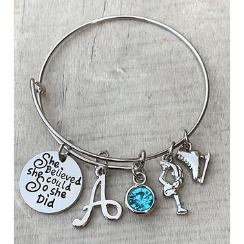 Personalized Figure Skating She Believed She Could So She Did Bracelet