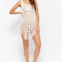 Crochet Fringe-Trim Dress