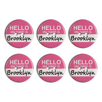 Brooklyn Hello My Name Is Plastic Resin Button Set of 6
