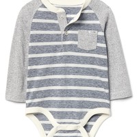 Stripe pocket henley bodysuit|gap