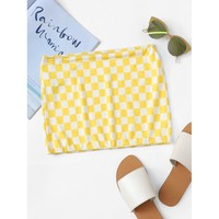 Gingham Crop Tube Top Yellow