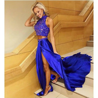 2017 Sexy Two Pieces Prom Dress New Arrival Blue Beaded Satin Long New Arrival 2 Pieces Long Prom Dress Party Gown Evening Gown
