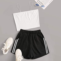 Solid Cami Top With Side Stripe Shorts