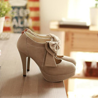 Fashion Light tan bow tie embellished high heels 9547YB