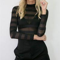 CREYCT9 Winter Stylish Slim See Through Stripes Long Sleeve Bottoming Shirt [8789867271]