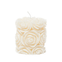 White Rose Round Pillar Candle by Volcanica