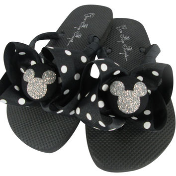 Red & Silver Disney Bow Flip Flops with Glitter Bling Mickey