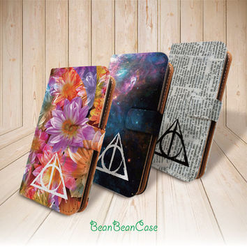 Deathly Hallows Harry Potter flip leather wallet case for iPhone 6 plus 5 5S 5c iPhone 4 4S, moto X, samsung galaxy note 4 3 S5 S4 S3 (L15)
