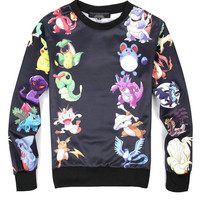 Black Emoji Pokemon Print Sweatshirts