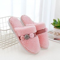 Lace Fluffy Ball Decor Design Winter Warm Indoor Cotton Slippers Shoes