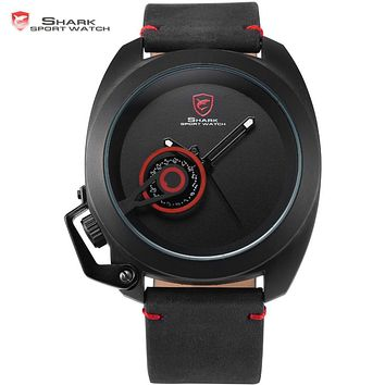 Official Release Tawny Shark Sport Watch - (Black, Special Date, Classic Design, Leather Band, Military Tag, Waterproof Quartz Men Watches / SH448 )