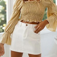 Yellow Plaid Off Shoulder Ruched Detail Flare Sleeve Crop Top