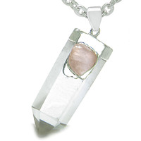 Astrological Taurus Amulet Double Crystal Point Rose Quartz Pendant 22 Inch Necklace