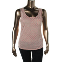 Maison Jules Womens Juniors Linen Blend Polka Dot Tank Top