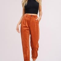 Cute As A Button Corduroy Trousers in Brick