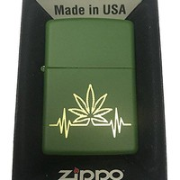 "Zippo Custom Lighter - ""My Heart Beat"" Marijuana Weed Pot Leaf Design"