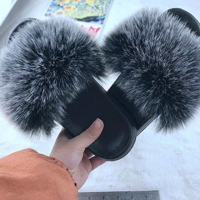 Image of New Fur Women Slippers Shoes Ladies Slippers Outdoor Slides Ladies Furry Beach Flip Flops Fluffy Women Shoes