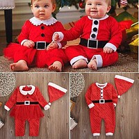 Christmas Clothes Winter Newborn Baby Boys Girls Santa Claus Rompers Hat 2Pcs Outfits Set Baby Rompers 0-24M