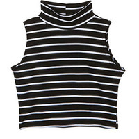 Teens Black and White Stripe High Neck Crop Top