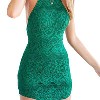 Green Halter Lace Bodycon Dress